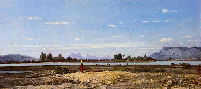 Paul-Camille Guigou Reproductions-Landscape, the Banks of the Durance, 1868