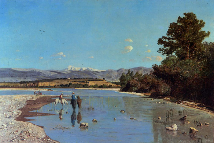 Paul-Camille Guigou Reproductions-The Banks of the Durance at Puivert, 1867