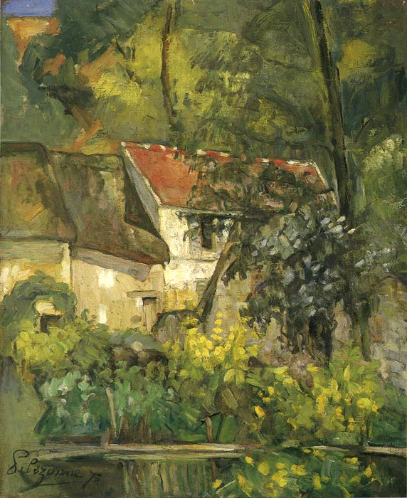 Paul Cezanne Reproductions-The House of Pere Lacroix in Auvers, 1873