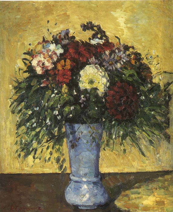 Paul Cezanne Reproductions-Bouquet in a Blue Vase, 1873