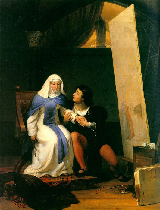 Paintings Reproductions Delaroche, Paul Fra Filippo Lippi Falling in Love with his Model, 1822