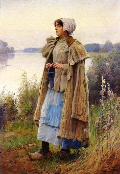 Charles Sprague Pearce Reproductions-Knitting in the Fields