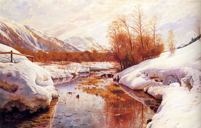 Paintings Reproductions Monsted, Peder Mork A Mountain Torrent In A Winter Landscape
