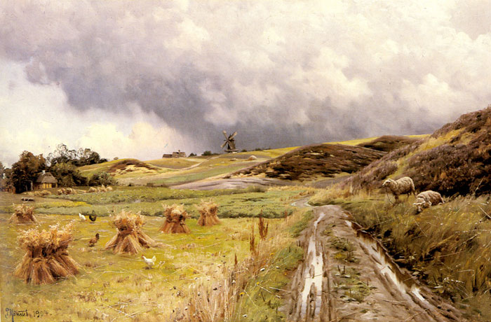 Peder Mork Monsted Reproductions-A Pastoral Landscape after a Storm, 1904