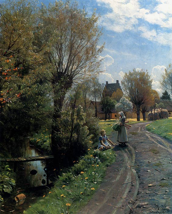 Paintings Reproductions Monsted, Peder Mork By The River, Brondbyvester, 1922