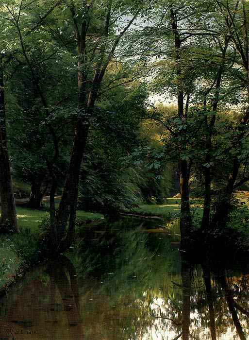 Paintings Reproductions Monsted, Peder Mork Figures Resting In A River Landscape, 1898