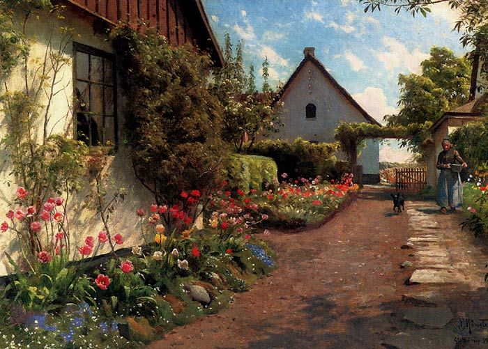 Paintings Reproductions Monsted, Peder Mork In The Garden, 1937