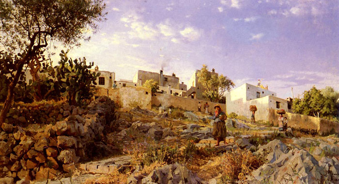 Paintings Reproductions Monsted, Peder Mork A View Of Anacapri, 1885