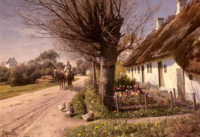 Peder Mork Monsted Reproductions-Cottages At Hjornbaek, 1924