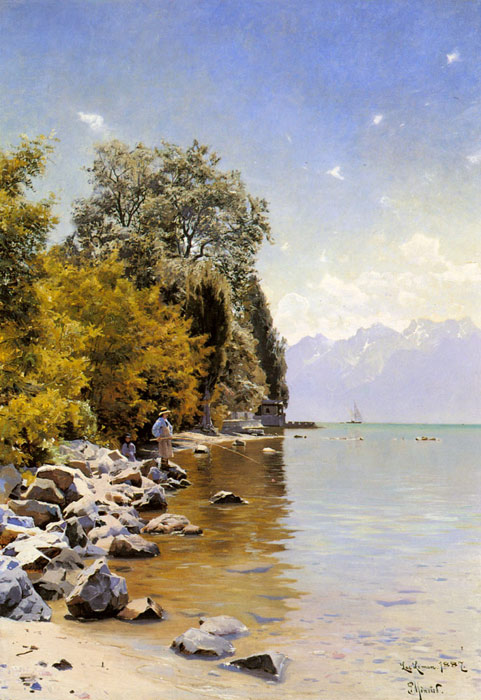 Peder Mork Monsted Reproductions-Fishing on Lac Leman, 1887