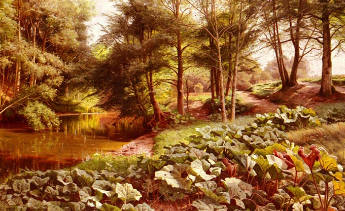 Paintings Reproductions Monsted, Peder Mork The Path' On The Rivers Edge, 1917