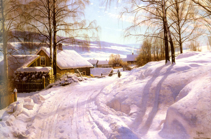 Peder Mork Monsted Reproductions-On The Snowy Path, 1918