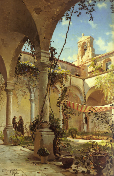 Peder Mork Monsted Reproductions-The Cloister, Taormina, 1885