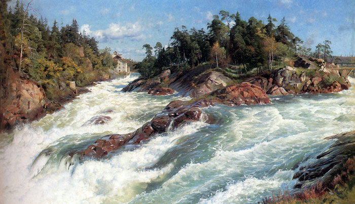 Paintings Reproductions Monsted, Peder Mork The Raging Rapids, 1897