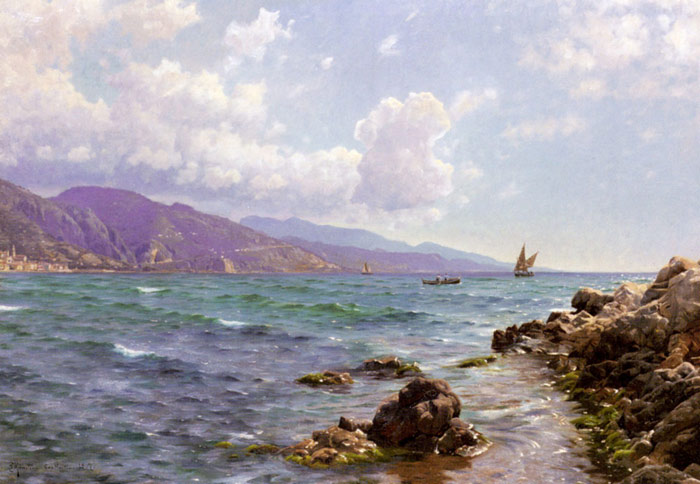 Peder Mork Monsted Reproductions-Fishing Boats on the Water, Cap Martin, 1907