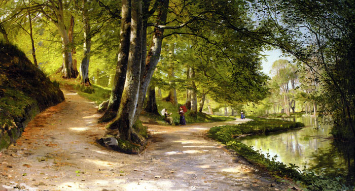 Paintings Reproductions Monsted, Peder Mork Den Rode Paraply [The Red Umbrella], 1888