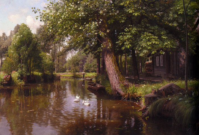 Peder Mork Monsted Reproductions-Flodbred [On the River], 1914