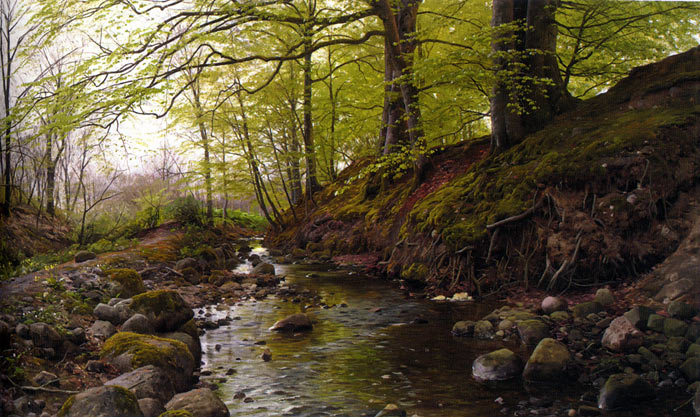 Vandlob I Skoven [Stream in the Woods], 1905 Monsted, Peder Mork Painting Reproductions