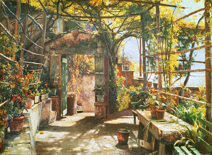 Peder Mork Monsted Reproductions-In the Pergola