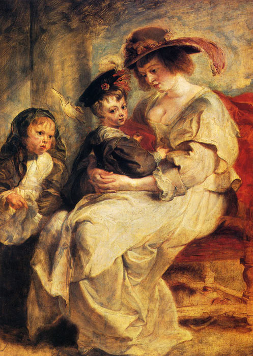 Peter Paul Rubens Reproductions-Helene Fourment With Two Of Her Children, Claire-Jeanne And Francois