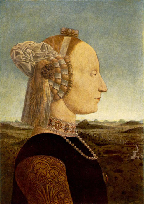Paintings Reproductions Francesca, Piero dela Portrait of Battista Sforza, 1465-1466