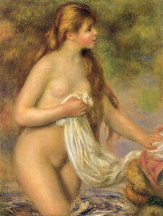 Pierre Auguste Renoir Reproductions-Bather with Long Hair,  c.1895