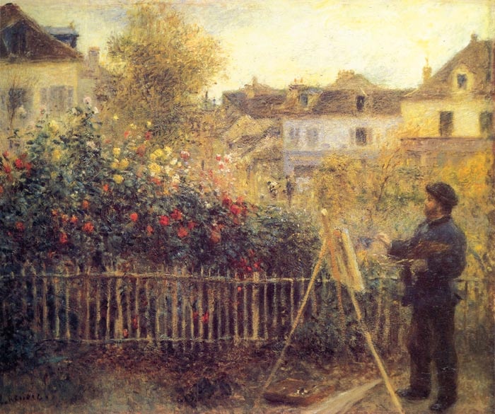 Pierre Auguste Renoir Reproductions-Claude Monet Painting in his Garden at Argenteuil,  1875