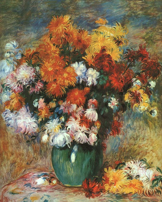 Oil Painting Reproduction Of Renoir Vase Of Chrysanthemums