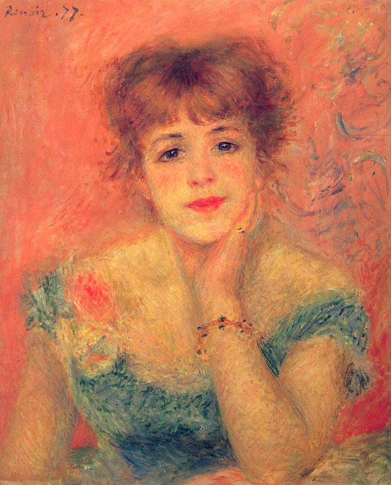 Pierre Auguste Renoir Reproductions-Jeanne Samary in a Low-Necked Dress, 1877
