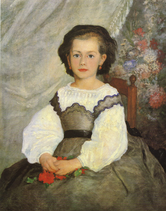 Pierre Auguste Renoir Reproductions-Little Miss Romain Lacaux, 1864