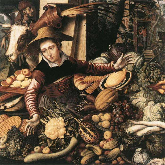 Paintings Reproductions Aertsen, Pieter Market Woman with Vegetable Stall, 1567