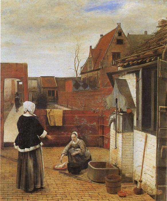 Pieter de Hooch Reproductions-A Woman and Her Maid in the Courtyard, 1660