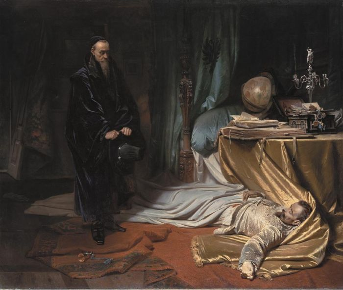 Paintings Reproductions Piloty, Carl Theodor von Seni at the Dead Boly of Wallenstein, 1855