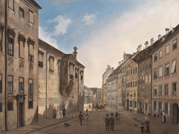 Domenico Quaglio Reproductions-Residenzstrasse Looking Towards Max-Joseph-Platz in 1826