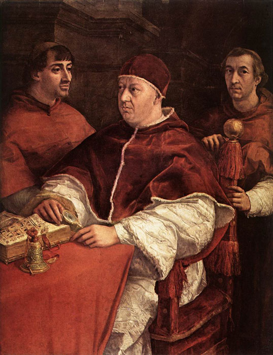 raphaels portrait leo x with cardinals Pope leo x with cardinals giulio de' medici and luigi de' rossi [detail: 2] by raphael painting analysis, large resolution images, user comments, slideshow and much more.