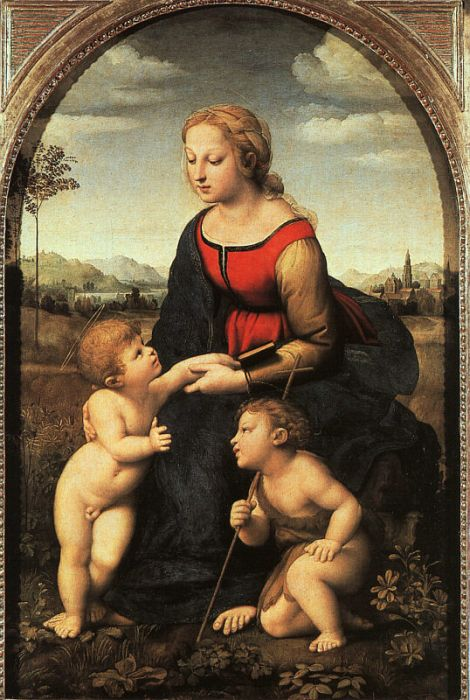 Paintings Reproductions Raphael, Raffaello Sanzio The Virgin and Child with Saint John the Baptist, 1507