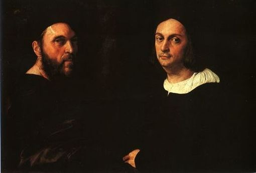 Paintings Reproductions Raphael, Raffaello Sanzio Portrait of Andrea Navagero and Agostino Beazzano