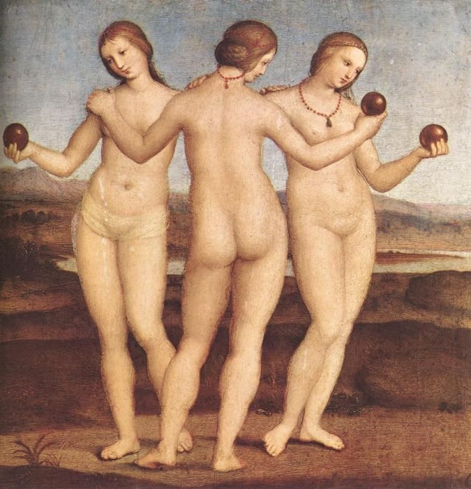 The Three Graces, 1504 Raphael, Raffaello Sanzio Painting Reproductions