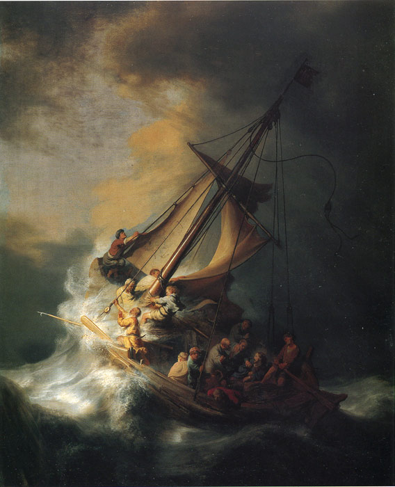 Rembrandt  Reproductions-Christ in the Storm on the Lake of Galilee, 1863
