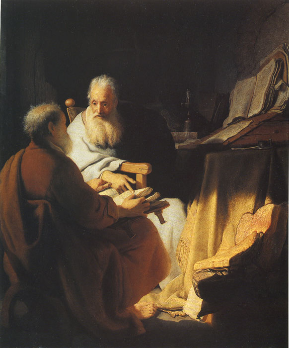 Rembrandt  Reproductions-Two Scholars Disputing, 1628
