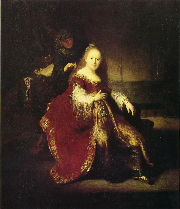 Rembrandt  Reproductions-Esther Preparing to Intercede with Abasuerus, 1633