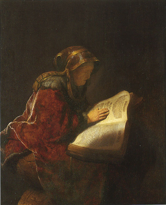 Rembrandt  Reproductions-Rembrandt's Mother Reading, 1631