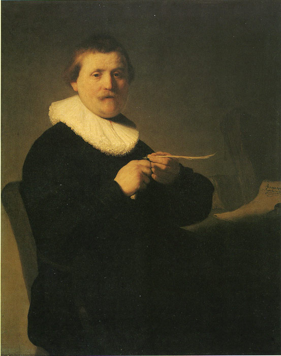 Rembrandt  Reproductions-A Man Sharpening a Quill, 1632