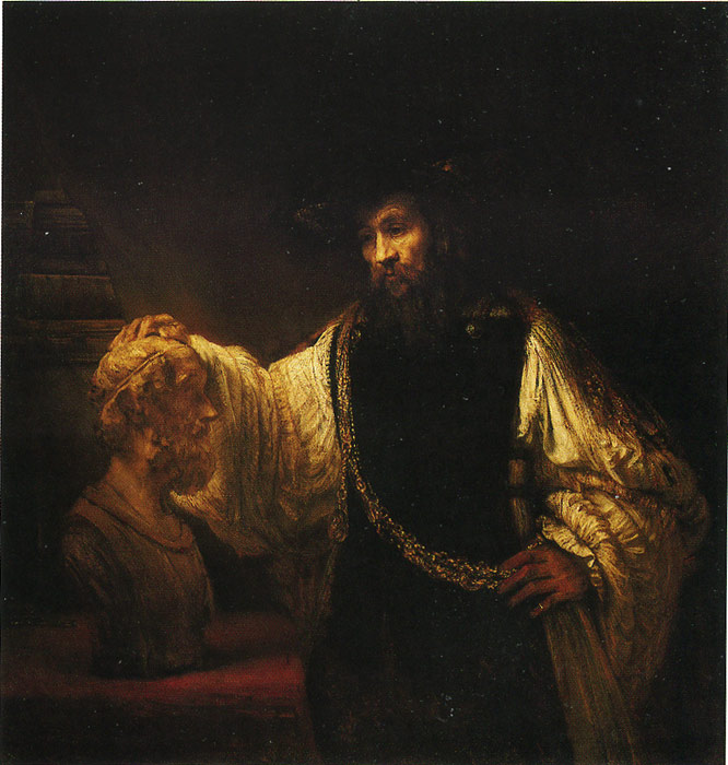 Rembrandt  Reproductions-Aristotle Contemplating a Bust of Homer, 1653