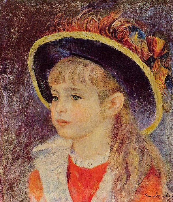 Pierre Auguste Renoir Reproductions-Young Girl in a Blue Hat
