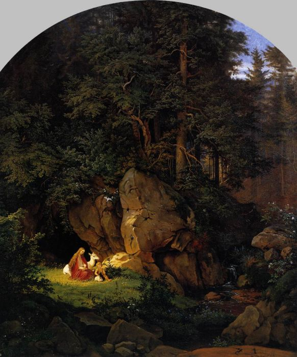Adrian Ludwig Richter Reproductions-Genoveva in the Forest Seclusion, 1841