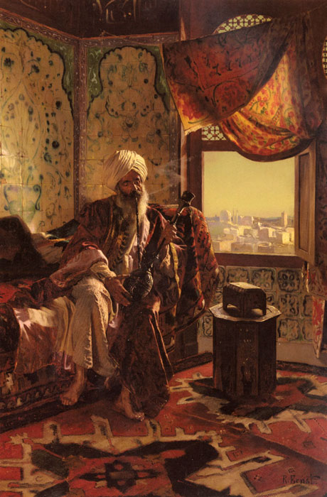 Rudolf Ernst Reproductions-Smoking The Hookah
