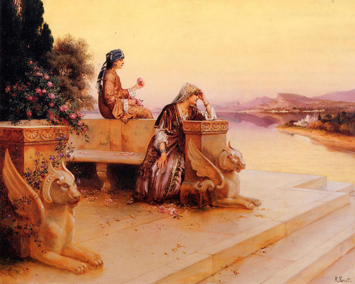 Rudolf Ernst Reproductions-Elegant Arab Ladies on a Terrace at Sunset