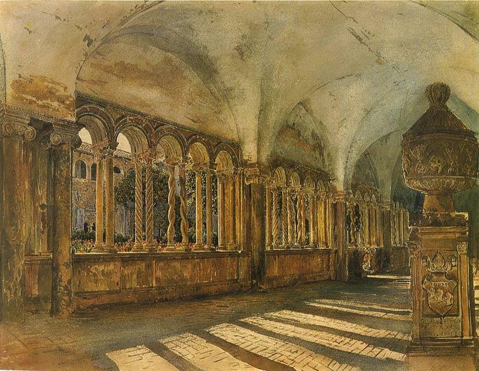 Rudolf von Alt Painting-Der Kreuzgang von San Giovanni in Laterano in ...Famous Forest Paintings