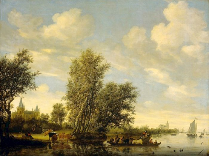 Salomon van Ruysdael Reproductions- River Scene with Ferry , 1649